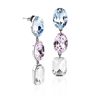 Ah! Jewellery Aqua, Rose & Clear Simulated Diamond Dangle Earrings. Sterling Silver, Stamped 925