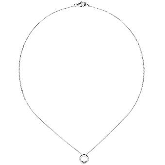 Necklace / necklace with pendant 925 sterling silver 16 cubic zirconia 43 cm necklace