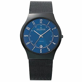 Skagen 233XLTMN Black Titanium Mesh Band Blue Carbon Fiber Dial Men's Watch
