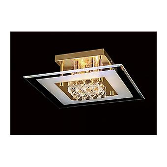 Delmar Square Ceiling Light 4 Bulbs Gold / Glass / Crystal