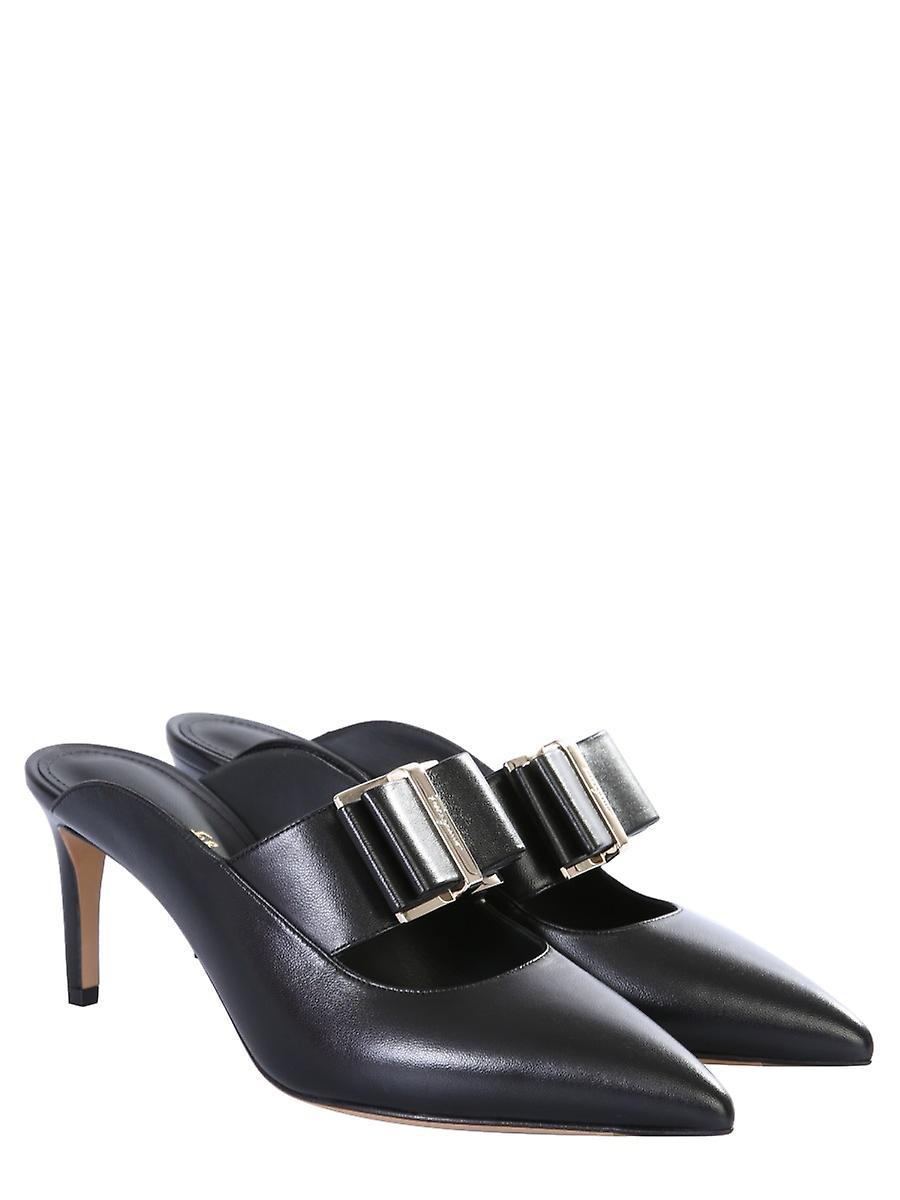 Salvatore Ferragamo 01q736724997 Women's Black Leather Slippers - Gratis verzending V5sZ68