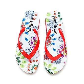 Desigual Bianco Rosso Lola Piattaforma Galattica Sandali Flip Flops