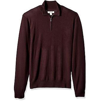 Goodthreads Men's Merino Wolle Viertel Zip Pullover, Burgund, X-Large