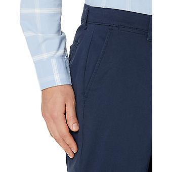 Essentials Men's Straight-Fit Casual Stretch Kaki, Marine, 32W x 30L