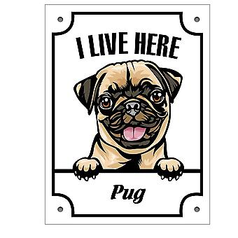 Placa de lata Pug Kikande sinal de cachorro