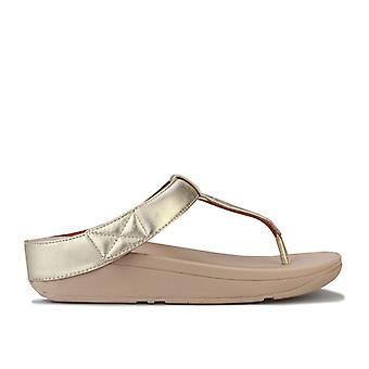 Women's Fit Flop Mina Leather Toe Thong Sandals in Gold