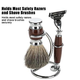 Pro Rack Men's Shaving Razor & Brush Stand Stainless Steel Holder