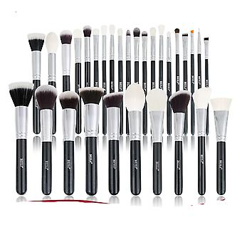 Black Makeup Brushes Set - Professional Natural Goat Hair Brushes Foundation Powder Contour Eyeshadow For Make Up