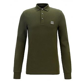 Hugo Boss Casual Slim Fit Open Green Passerby Camisa Polo de Manga longa