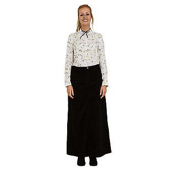 Fearne long corduroy skirt - black