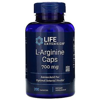 Extensión de la vida, Cápsulas de L-arginina, 700 mg, 200 Cápsulas
