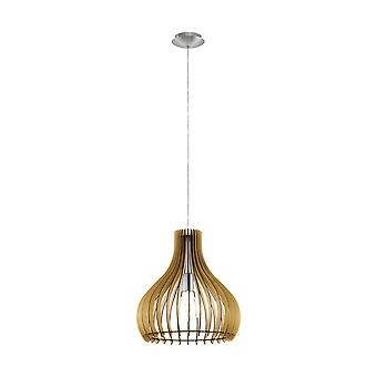 1 Light Ceiling Pendant Satin Nickel with Maple Wooden Shade, E27