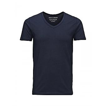 Jack & Jones Basic V Neck Tee (marine)