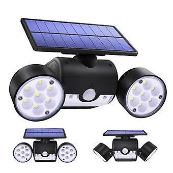 30 Lâmpada solar de cabeça dupla led, holofote do sensor de movimento, impermeável