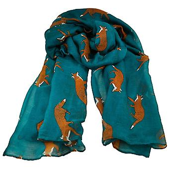 Ties Planet Fox Animal Print Teal Lightweight Women's Châle Scarf