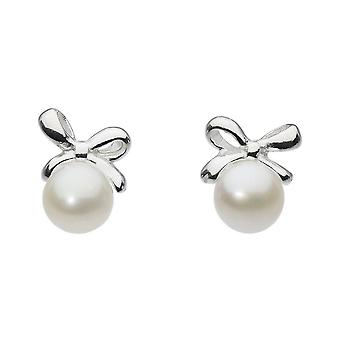 Dew Silver Dinky Small Bow With Freshwater Pearl Stud Earrings 3648FP024