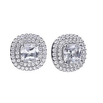 Diamonfire Cushion Cut Double Halo Cubic Zirconia Boucles d'oreilles E5784