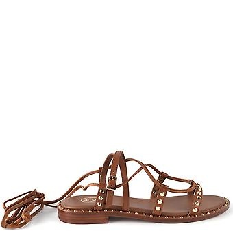 Ash PRINCESS Sandals Brown Leather & Gold Studs