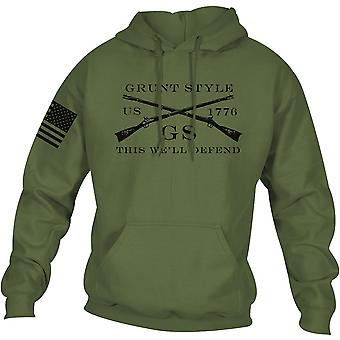 Grunt Style Logo Basic Pullover Hoodie - Military Green