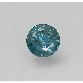 Cert 0.50 Carat Vivid Blue Round Brilliant Enhanced Natural Diamond 4.96mm 3VG
