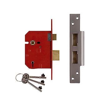 Union 2234E 5 Alavanca BS Mortice Sash Lock Satin Chrome Acabamento cromo 79.5mm 3in Visi