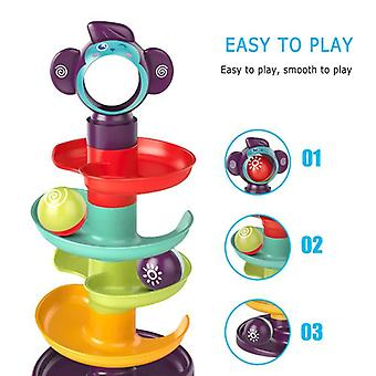 5-layer Building Block Track Turn Music Roll Ball, 1-2 Years Old Baby Gliding