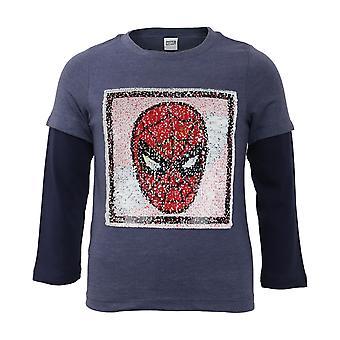 Marvel Comics Spider-Man Mask Reversibel Paljett Gutter Langermet T-skjorte | Offisielle varer