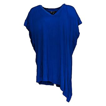 DG2 por Diane Gilman Women's Plus Top 2XAsymmetric Hem V-Neck Tee Blue 710-366