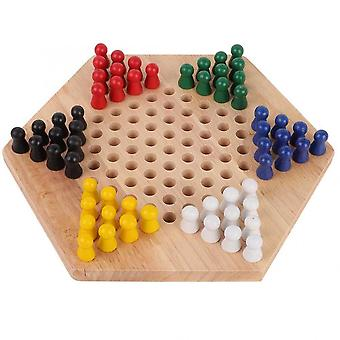 Checker Game Set- Wooden Educational Board Kids Classic Halma, Strategy Family