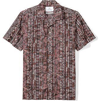 28 Palms Men's Standard-Fit 100% Cotton Tropical Hawaiian Batik Shirt, Tiki Brown, X-Small