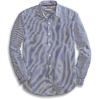 Goodthreads Men's Standard-Fit Langarm Banker gestreift Shirt, blau, groß