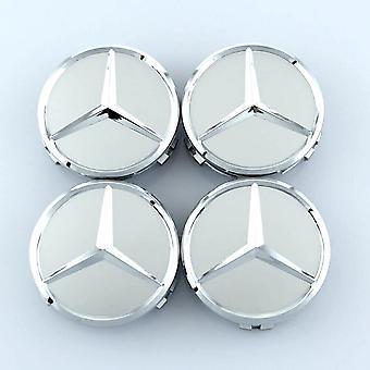 Silver Mercedes Benz Wheel Center Caps Hub Badges 75mm 4 PCS For A B C E S G CLASS CLA CLS SLK ML AMG