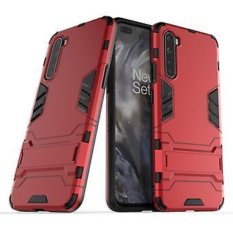 עבור OnePlus Nord PC + מגן TPU עמיד בפני זעזועים עם מחזיק בלתי נראה (אדום)