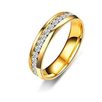 Stainless Steel Three Line Gold Crystal Women's Ring Voor Valentijnsdag