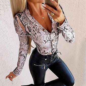 Women Long Sleeve Leopard Skin Bodysuit Autumn Casual Jumpsuit Slim V Neck