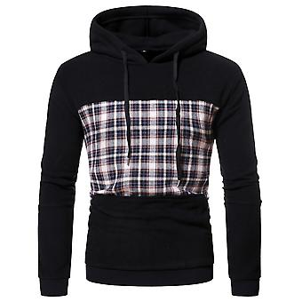 Men's Stitching Plaid Hooded Pullover Long Sleeve Check Sweatshirt