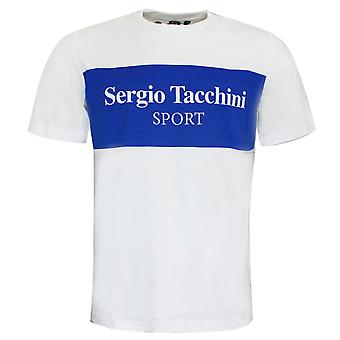 Sergio Tacchini Mens Daniken T-Shirt Casual Graphic Top White 38363 119