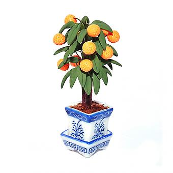 Dolls House Orange Tree In White And Blue Chinese Pot Planter Garden Accessory