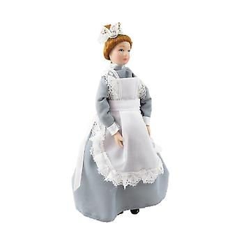 Dolls House Victorian Parlour Maid Woman Lady Servant In Grey Porcelana People