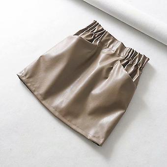 Fuste femei, deasupra genunchiului, mini dublu buzunar elastic talie, Pu Faux piele