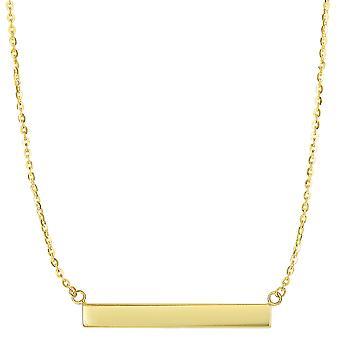 """14 k Yellow Gold Engravable Baari sivuttain riipus kaulakoru, 18 """""""