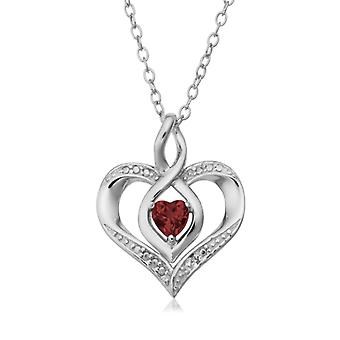 "Sterling Silver Heart Shape Gemstone Birthstone Necklace, 18"""