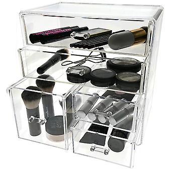 Pantalla de la funda de almacenamiento de maquillaje cosmético y joyería OnDisplay - 3 niveles, diseño de 5 cajones - perfecto para vanidad, contador de baño o tocador
