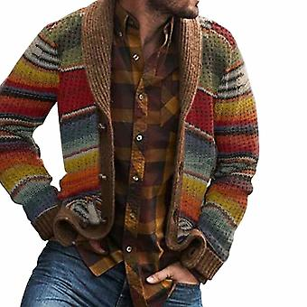 Automne Hommes Hooded, Wool Cardigan Sweaters, Jumper Winter Patchwork Knit