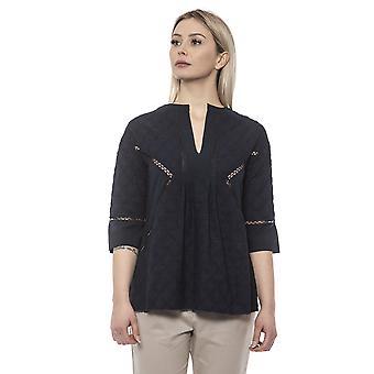 Blaues Hemd Alpha Studio Damen