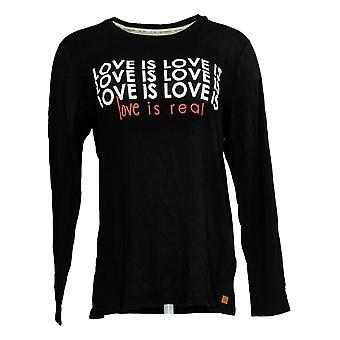Peace Love World Women's Top Long Slv Knit Love Tee Barbados Black A345391