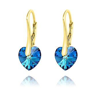 24K gold heart earrings blue mv57197
