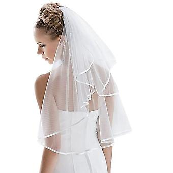 Bridal Veil Women's Simple Tulle , Wedding Veil Ribbon Edge With Comb