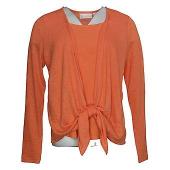 Belle Par Kim Gravel Women's Cardigan W/ Tank Top XXS Orange A378622