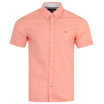 Tommy Hilfiger Organic Cotton Linen Slim Fit Short Sleeve Shirt - Summer Sunset